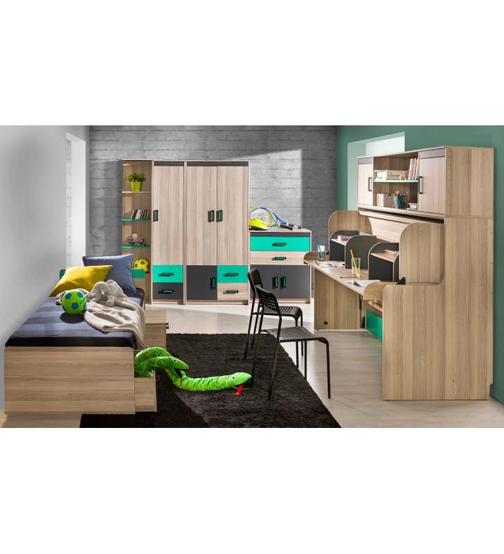 Łóżko-biurko z nadstawką do pokoju młodzieżowego ULTIMO U16+U17