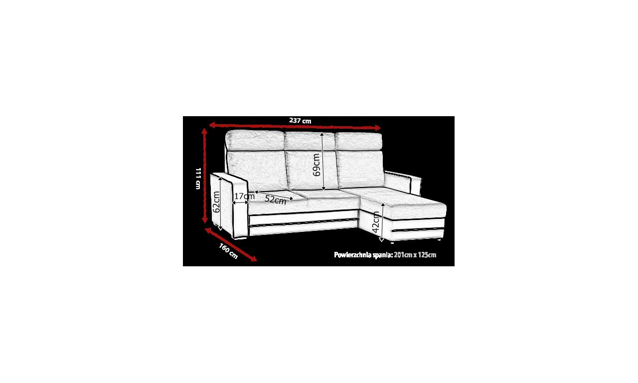 Szary narożnik z funkcją spania i pojemnikiem na pościel Maxx (inari96+soft7)