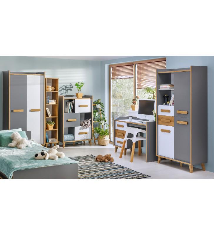 Łóżko pojedyncze w stylu retro i odważnej kolorystyce WERSO W10