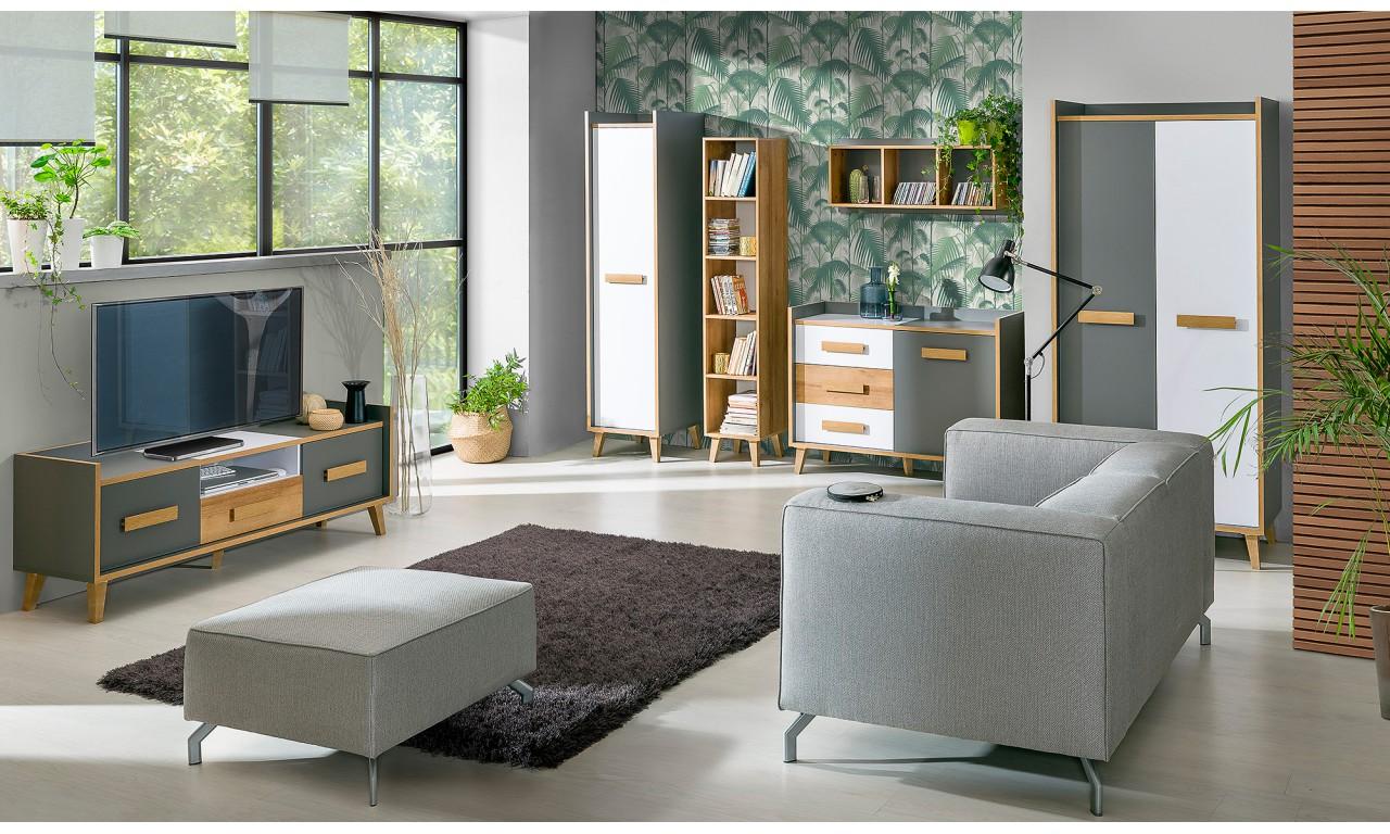 Zestaw mebli do salonu w stylu retro i odważnej kolorystyce WERSO D