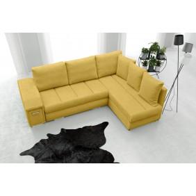 Żółty narożnik z funkcją spania i dwoma pojemnikami na pościel Arni