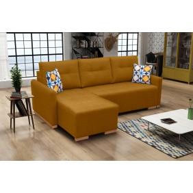 Żółty narożnik z funkcją spania i pojemnikiem na pościel X1