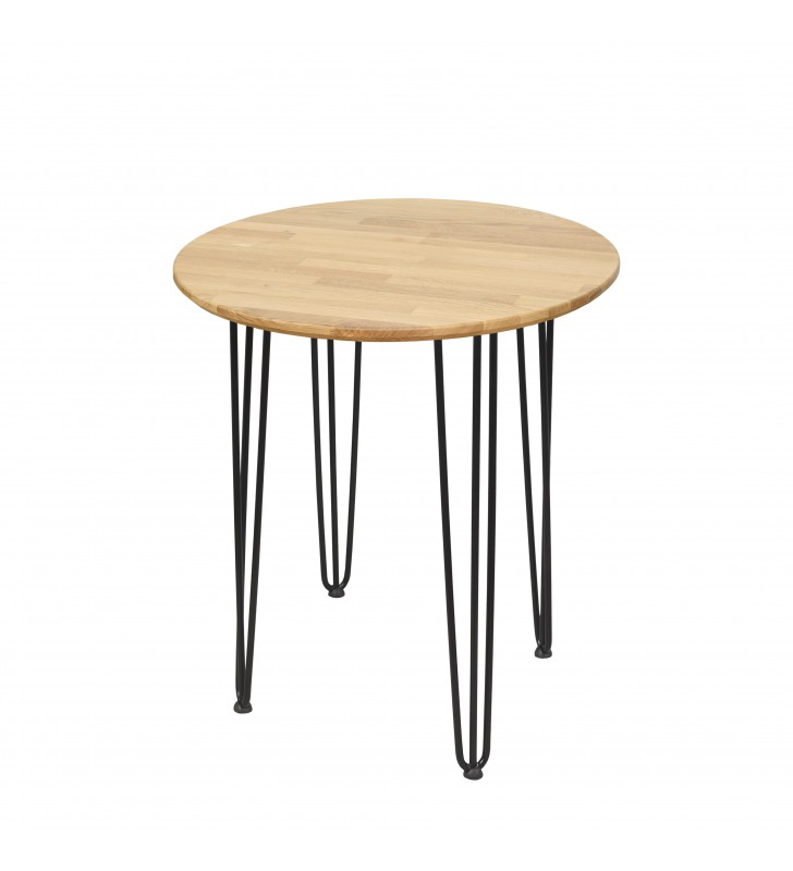 Okrągły stół dębowy ze stalowymi nóżkami, średnica 70 cm, wys. 73,5 cm Iron Oak