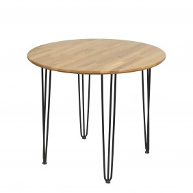 Okrągły stół dębowy ze stalowymi nóżkami, średnica 88 cm, wys. 73,5 cm Iron Oak
