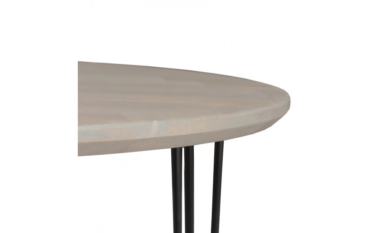 Okrągły stół dębowy ze stalowymi nóżkami, średnica 110 cm, wys. 73,5 cm Iron Oak