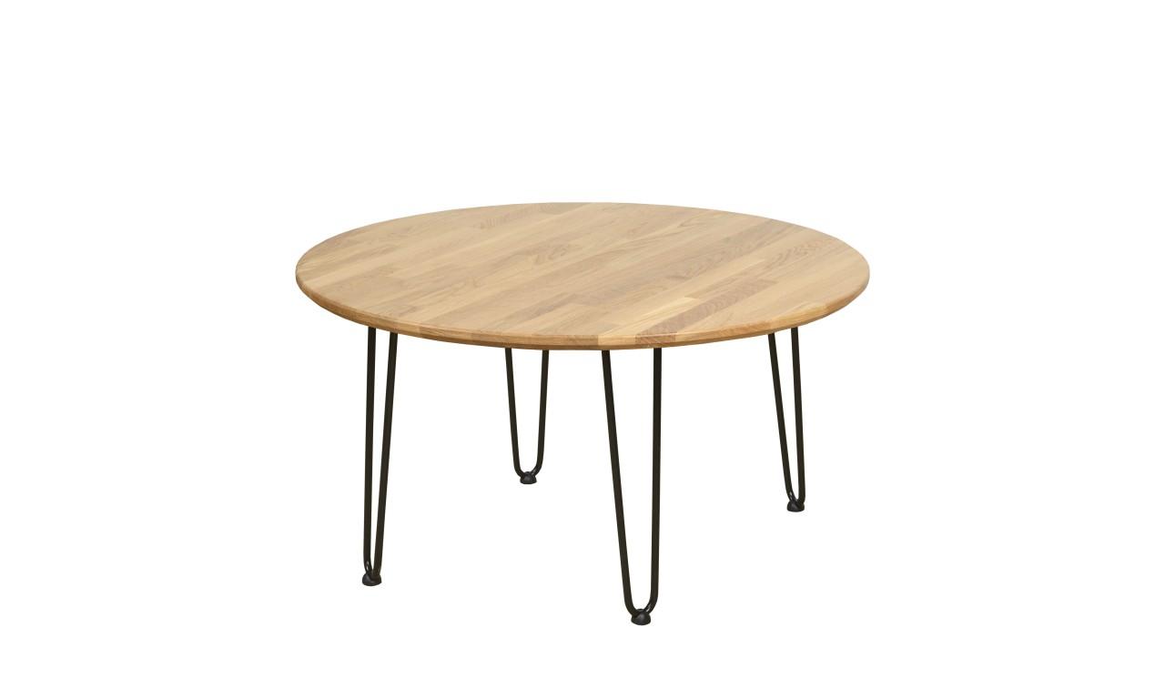 Okrągły stolik dębowy ze stalowymi nóżkami, średnica 88 cm, wys. 47,5 cm Iron Oak