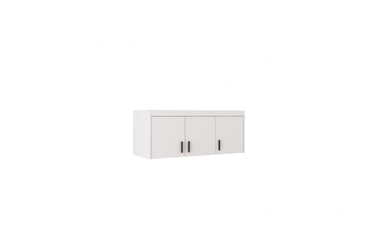 Biała szafa trzydrzwiowa ELENA 3D z dostępną nadstawką