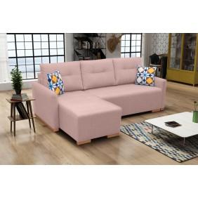 Różowy narożnik z funkcją spania i pojemnikiem na pościel X1