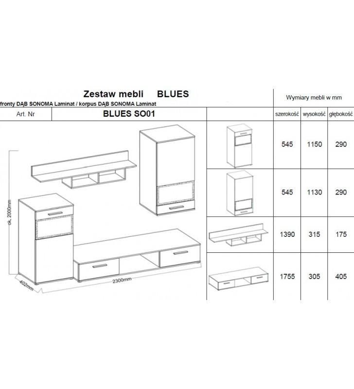 Zestaw mebli BLUES (dąb sonoma)