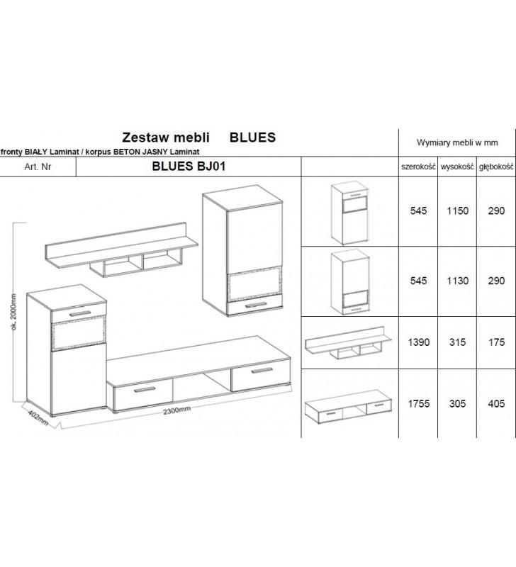 Zestaw mebli BLUES (biały/beton)