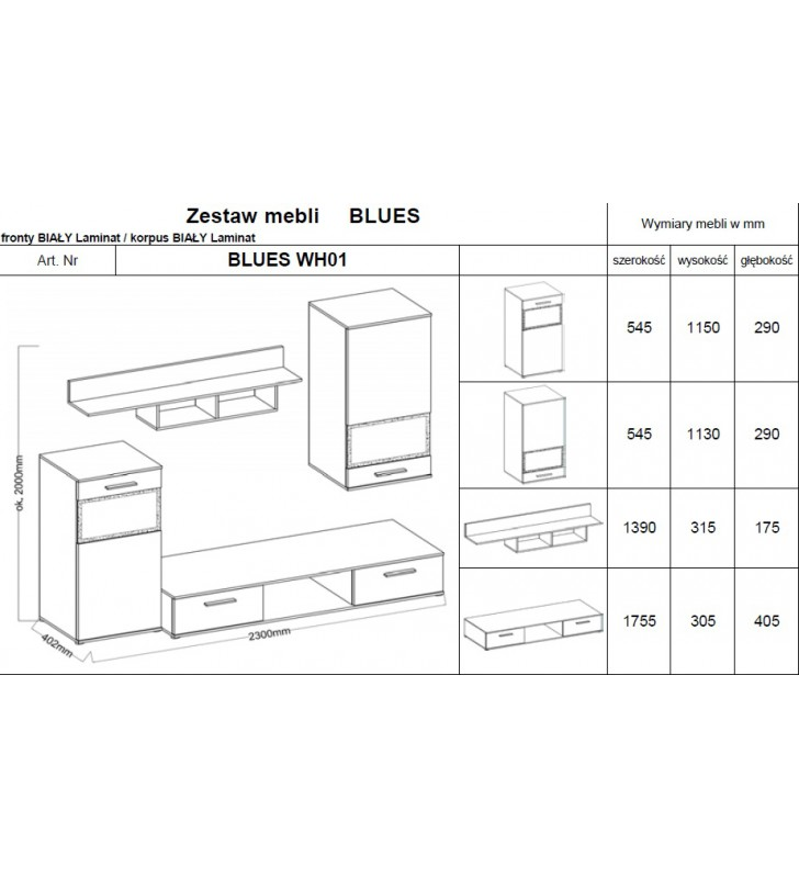 Zestaw mebli BLUES wraz z komodą (biały)