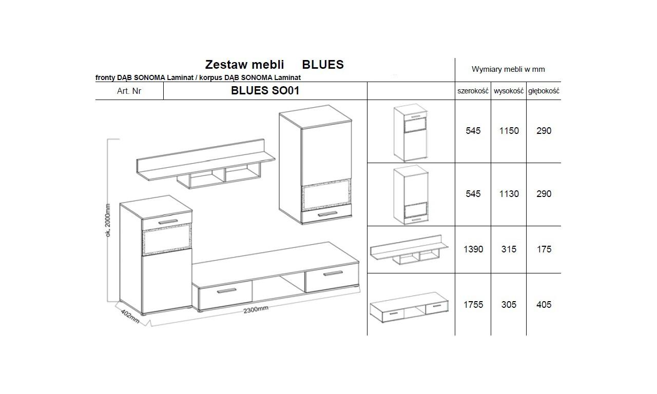 Zestaw mebli BLUES wraz z komodą (dąb sonoma)