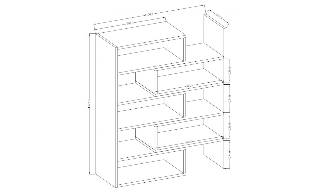 Jasnobrązowy regał z regulowaną szerokością (72,5-110 cm) i geometrią KAROL 1