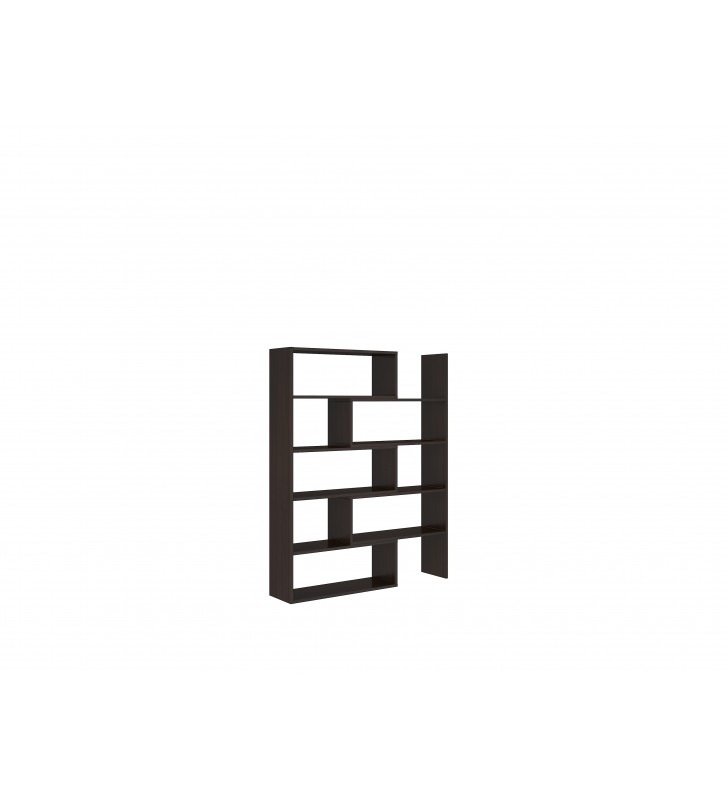 Ciemnobrązowy regał z regulowaną szerokością (72,5-110 cm) i geometrią KAROL 1
