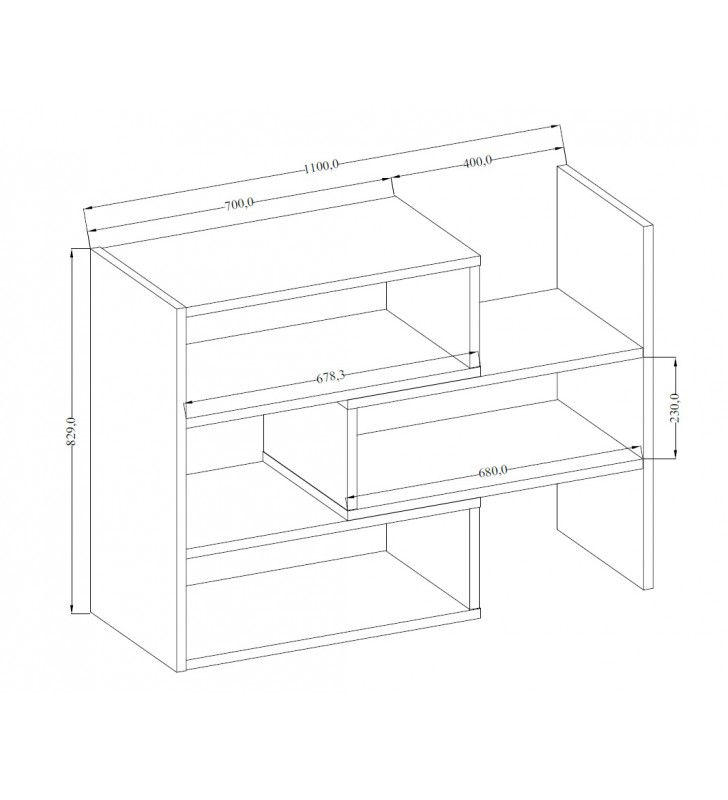 Jasnobrązowy regał z regulowaną szerokością (72,5-110 cm) i geometrią KAROL 3