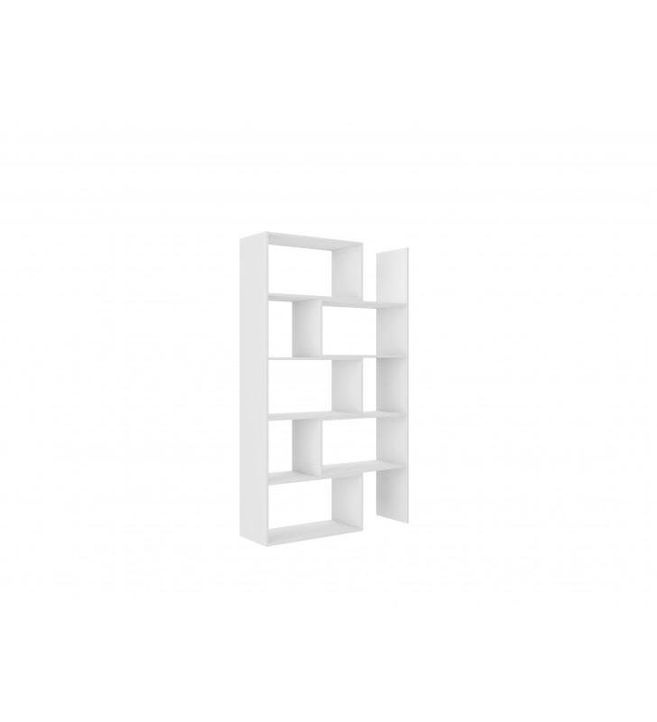 Biały regał z regulowaną szerokością (72,5-110 cm) i geometrią KAROL 2
