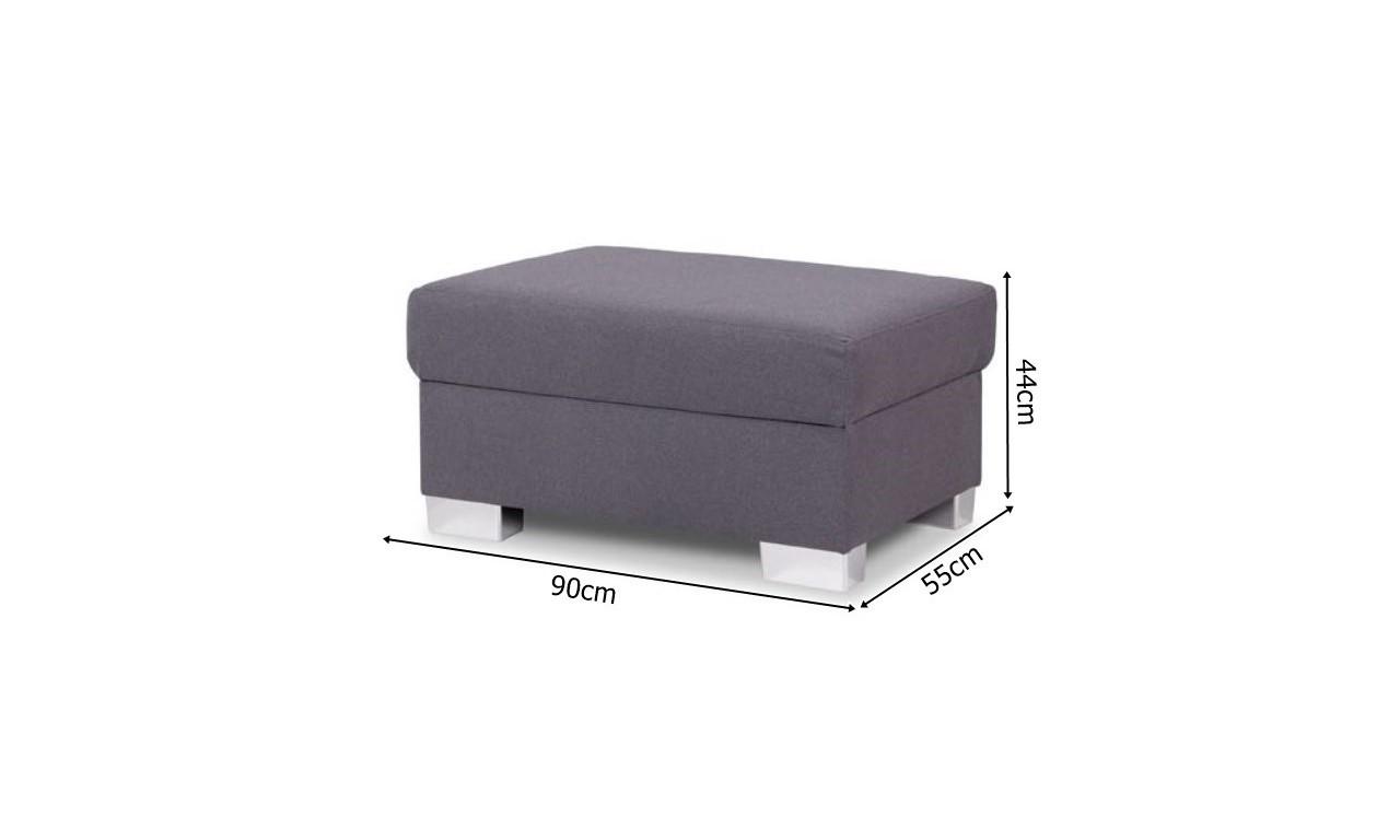 Brązowy narożnik z pufą, funkcją spania i pojemnikiem na pościel Mix