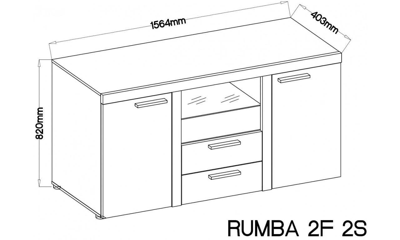 Grafitowo-brązowa meblościanka RUMBA wraz z szeroką komodą.