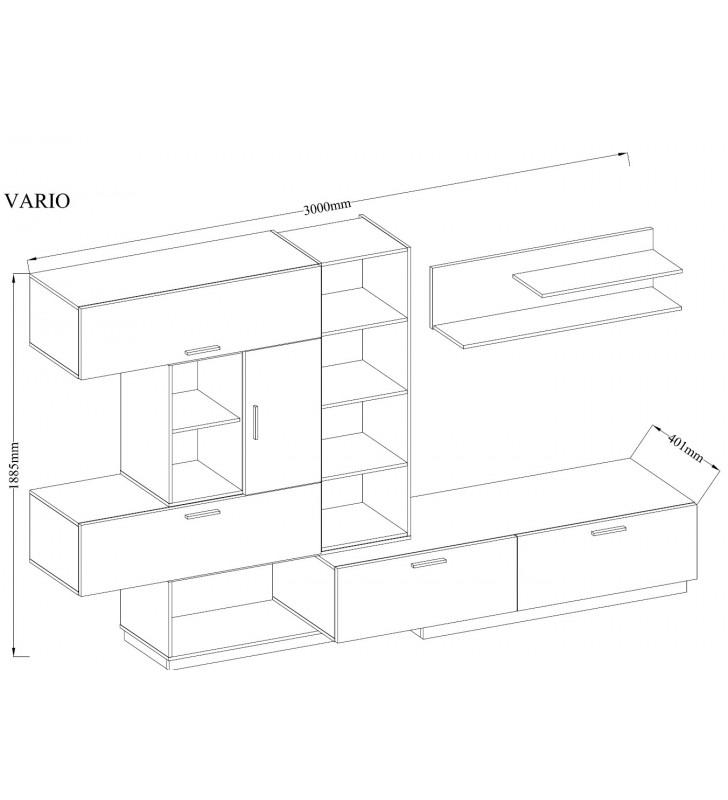 Biało-brązowa meblościanka ze zmiennym ustawieniem VARIO