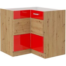 Szafka stojąca narożna ARTISAN czerwony połysk 89x89 DN 1F BB