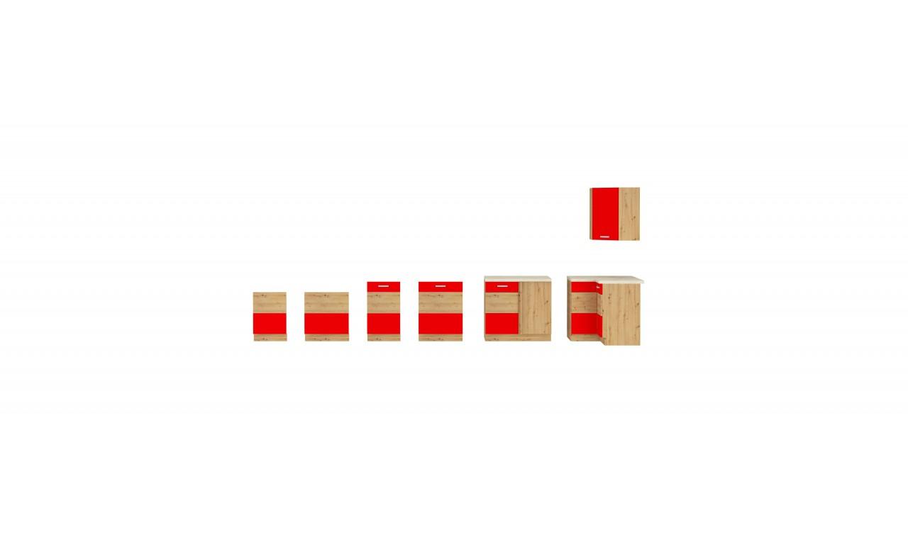 Szafka wisząca narożna ARTISAN czerwony połysk 58x58 GN-72 1F