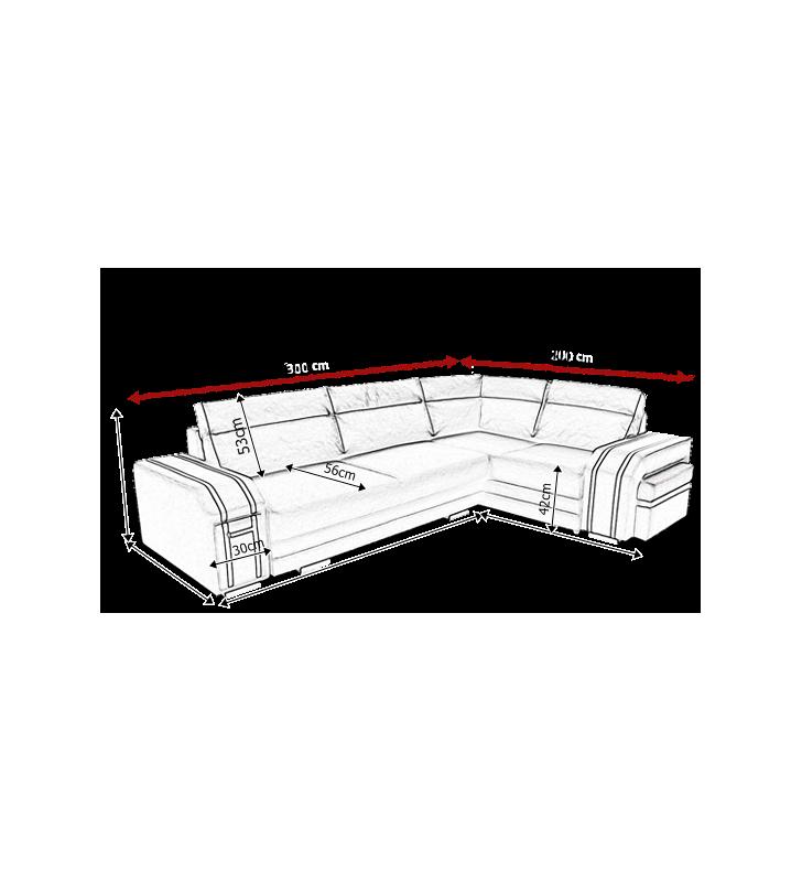 Szary narożnik z funkcją spania i dwoma pojemnikami na pościel Avatar (inari96+inari100)