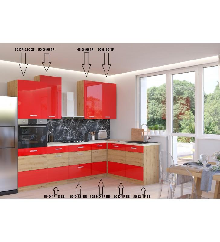 Zestaw mebli kuchennych ARTISAN A czerwony połysk
