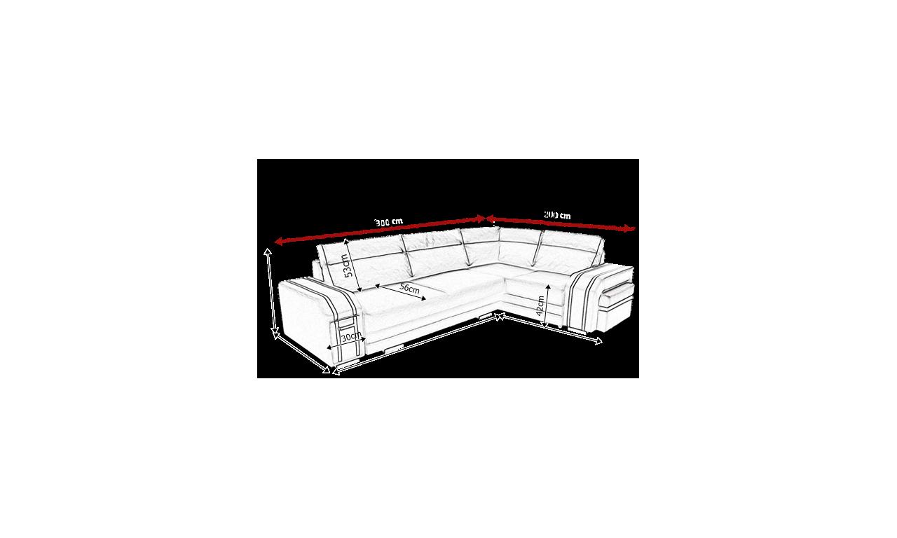 Szary narożnik z funkcją spania i dwoma pojemnikami na pościel Avatar (inari96+soft17)