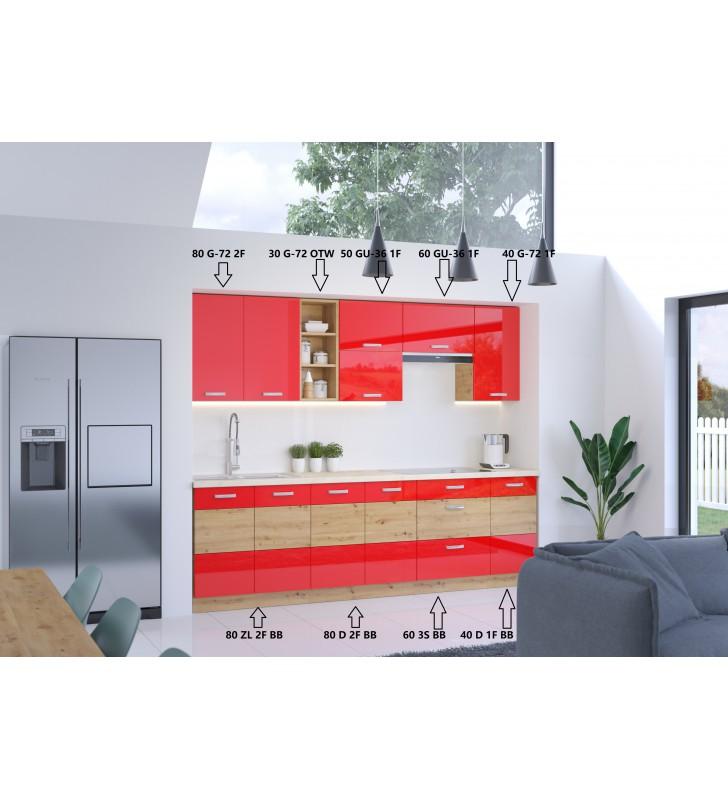 Zestaw mebli kuchennych ARTISAN B czerwony połysk