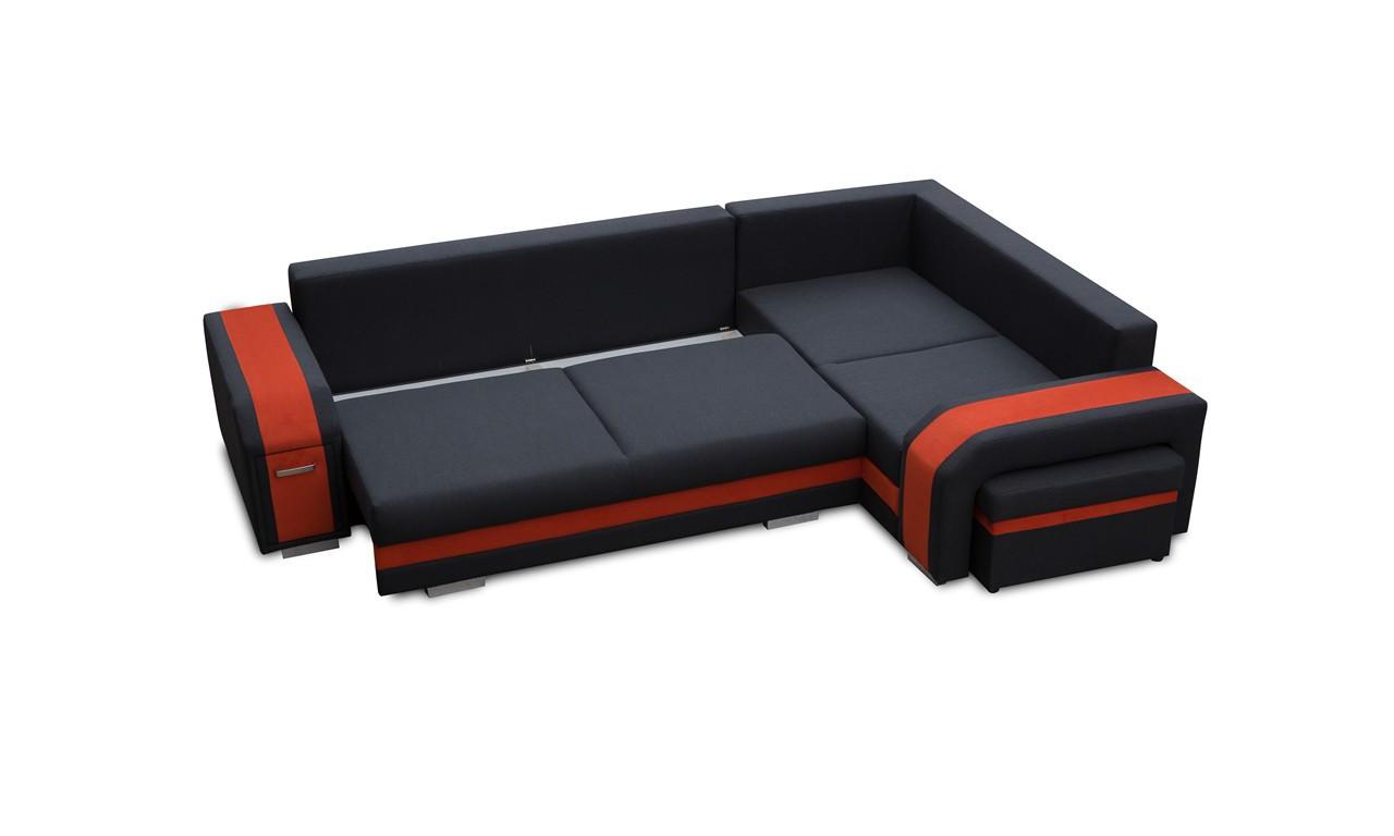 Czarny narożnik z pufą, funkcją spania i dwoma pojemnikami na pościel Assan (inari100+soft17)