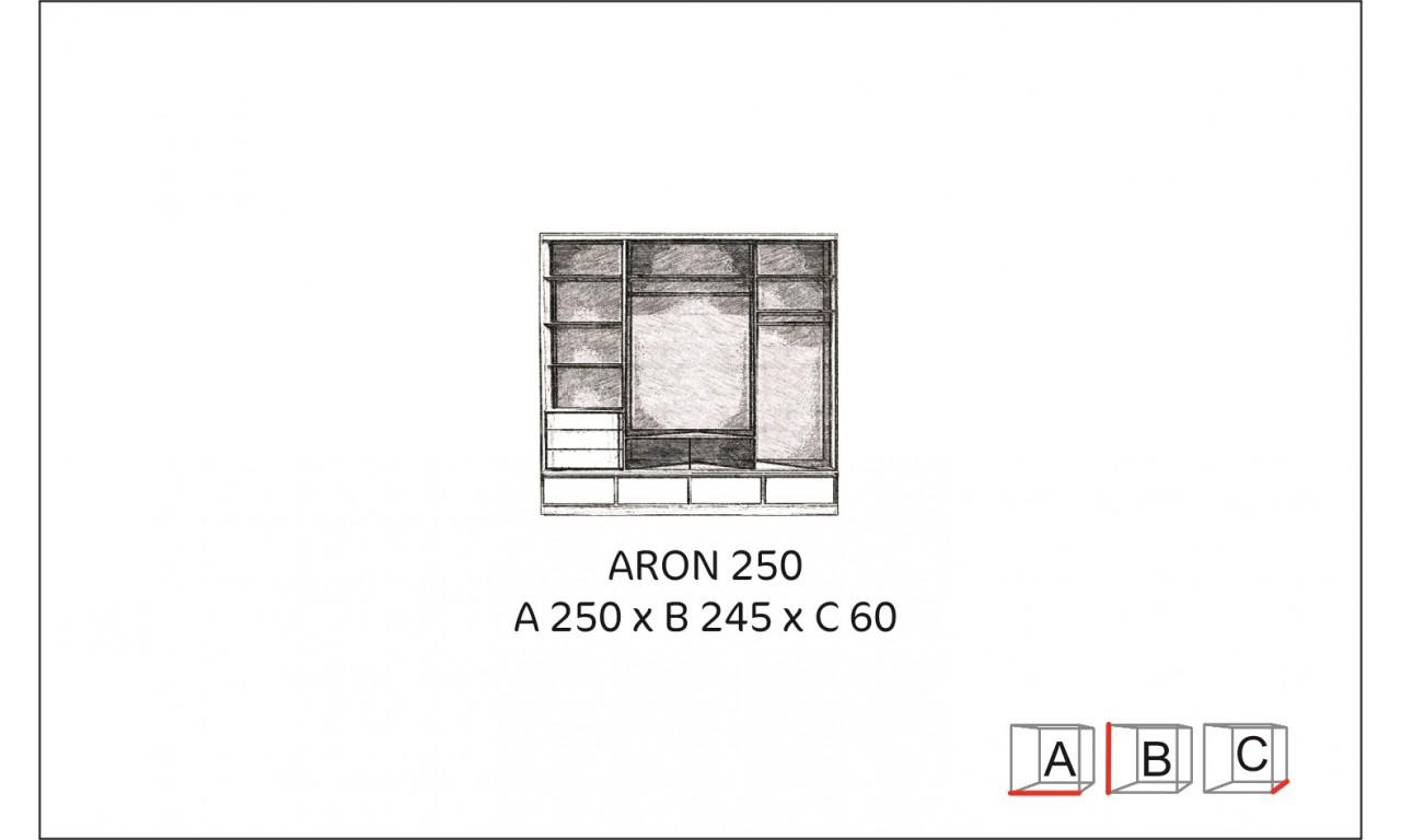 Bardzo duża (250 cm) szafa przesuwna z lustrem i podświetleniem LED Aron 250