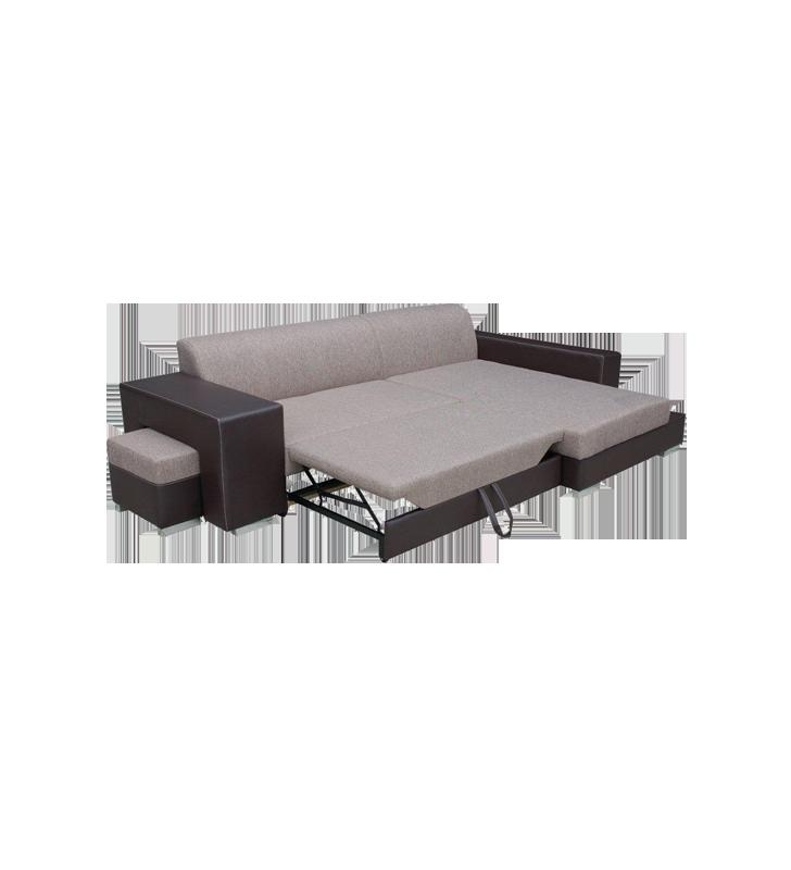 Czarny narożnik z pufą, funkcją spania i pojemnikiem na pościel Madagaskar (inari100+soft11)