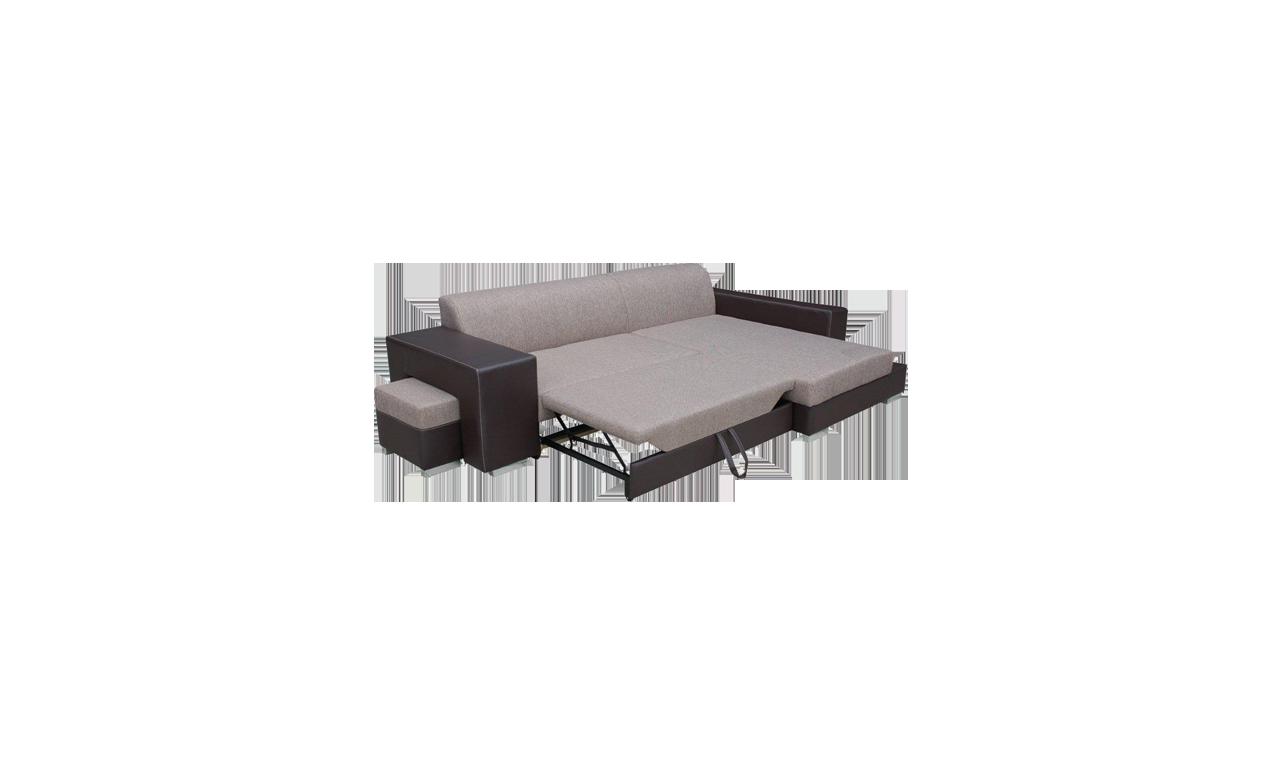 Czarny narożnik z pufą, funkcją spania i pojemnikiem na pościel Madagaskar (inari100+soft17)
