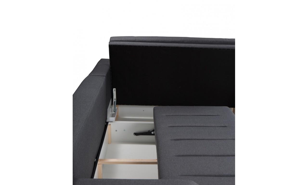 Błękitny narożnik z funkcją spania i dwoma pojemnikami na pościel Tia (inari72)
