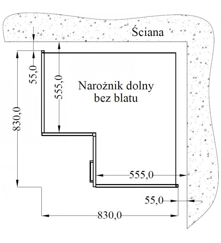 Szafka stojąca narożna ICONIC 89x89 DN 1F BB