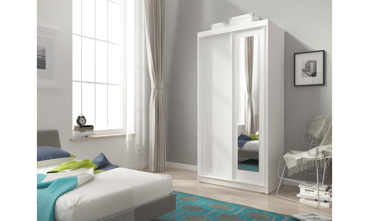 Biała szafa przesuwna z lustrem ALASKA 100