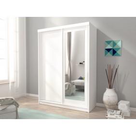 Biała szafa przesuwna z lustrem ALASKA 150