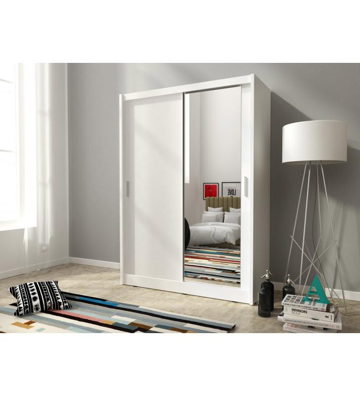 Biała szafa z jednym lustrem MAJA 150