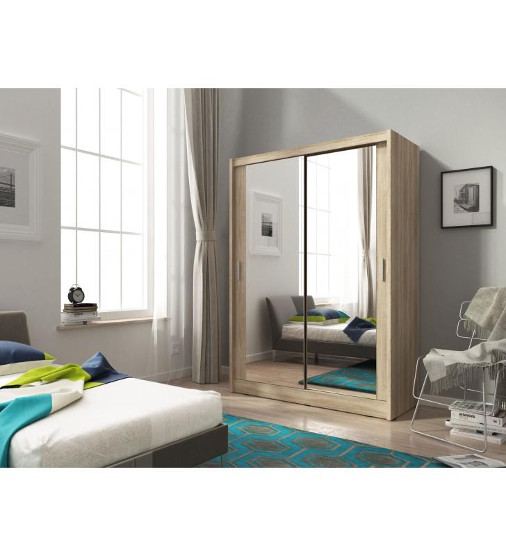 Jasnobrązowa szafa z dwoma lustrami MAJA 150