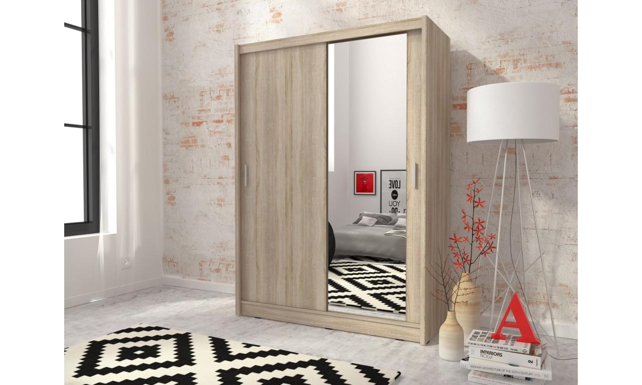 Jasnobrązowa szafa z jednym lustrem MAJA 130