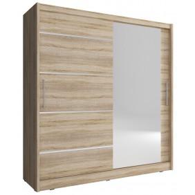 Jasnobrązowa szafa z lustrem MAJA I ALU 200