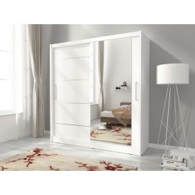 Biała szafa z lustrem MAJA I ALU 180