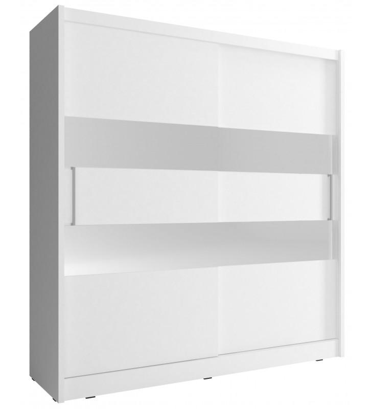 Biała szafa z lustrzanymi pasami MAJA II 180