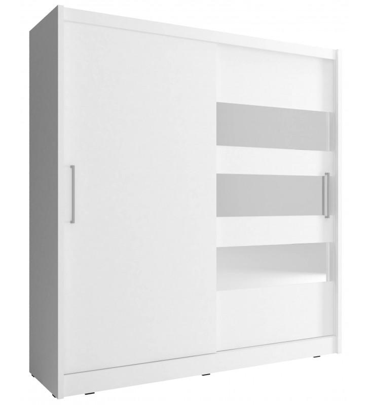 Biała szafa z lustrzanymi pasami MAJA III 180