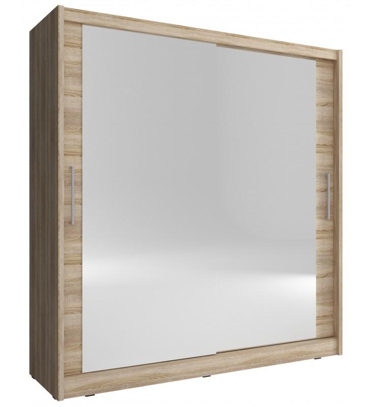 Jasnobrązowa szafa z dużymi lustrami MAJA VI 200