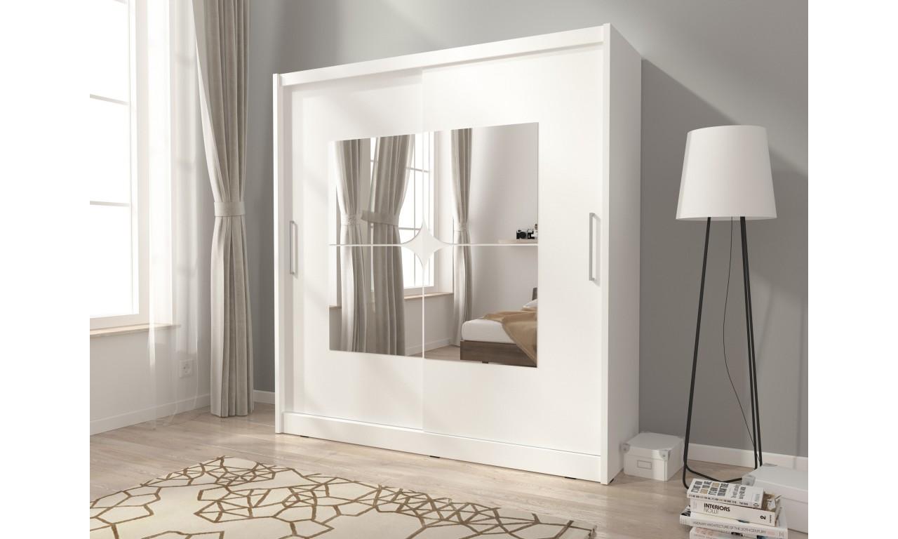Biała szafa z lustrami MAJA VII 200