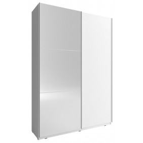 Biała szafa przesuwna z lustrem MIKA II 150