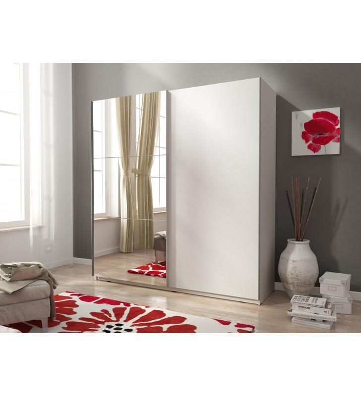 Biała szafa przesuwna z lustrem MIKA II 200