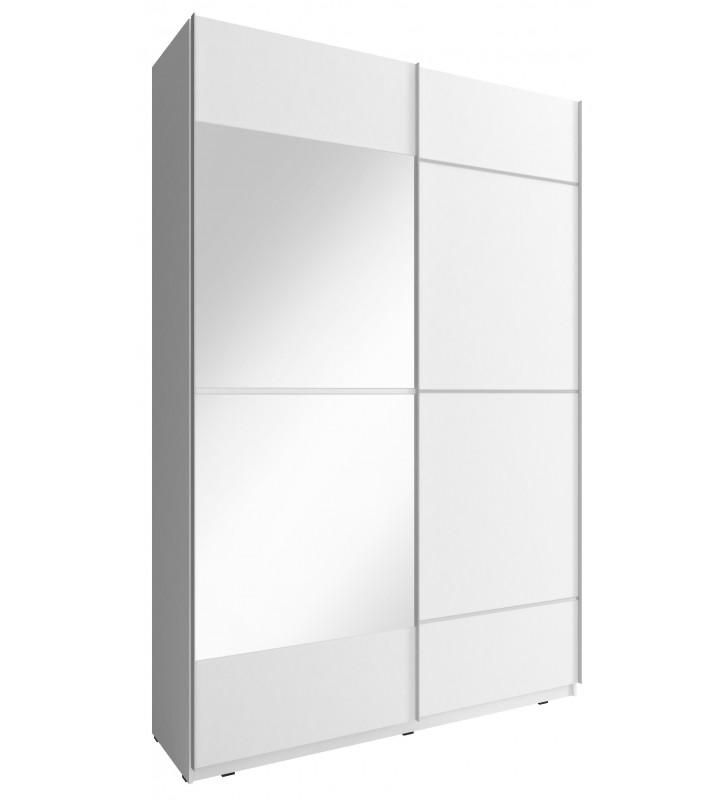 Biała szafa przesuwna z lustrem MIKA IV 150