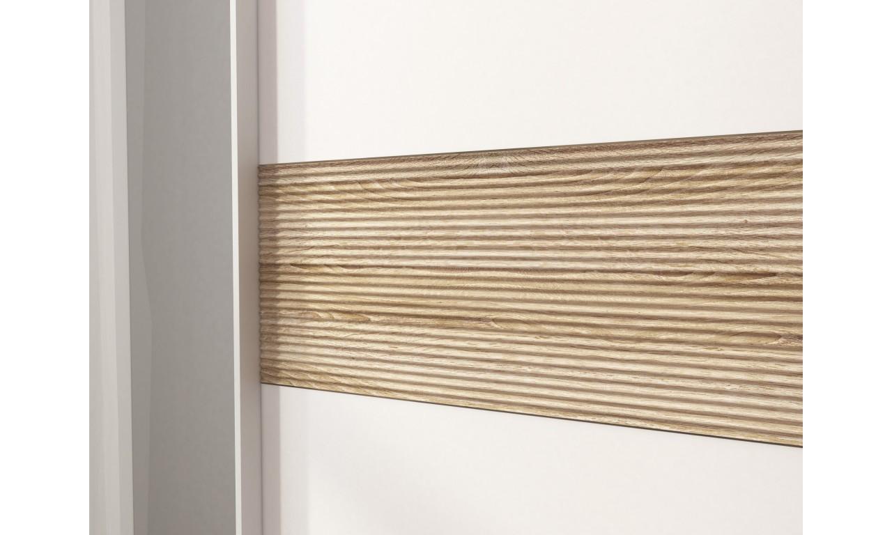 Biała szafa przesuwna z lustrami i jasnobrązowym, ryflowanym pasem ozdobnym MIKA V 150
